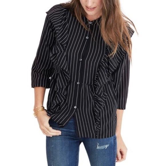 bb32b6fb00d Madewell Tops   Silk Ruffle Black White Striped Shirt Med   Poshmark